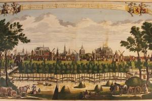 66/6366   [Leyden]. Gesigt van de Stadt Leyden beroemt door syn Hooge scho