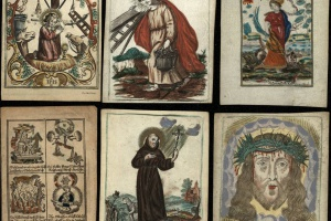 70/4876   [Devotionalia]. Lot of 8 holy pictures,