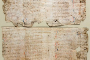 70/2699   [Medieval manuscripts]. Fragments of two manuscript bifolia from