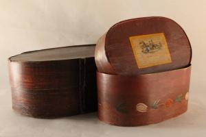 70/4881   [Folk art]. Two painted bent wood boxes (spanen dozen),