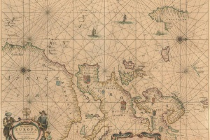 70/5884   [Europe]. Pas-kaart van Europa met een gedeelte van de kust van