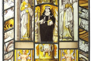 70/5034   [Stained glass]. (Gertrudis van Nijvel, seated on a throne holdi