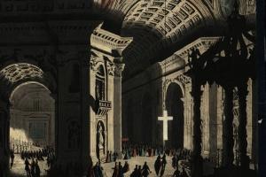 70/5810   [Rome]. Lot of 10 lithogr./ aquatint/ engr. (optical) views,