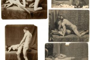70/4447   [Erotica]. Lot of 9 pornographic photographs,