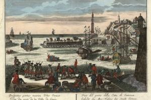70/5759   [Genoa]. Gesicht des Meer Hafens der Stadt Genua.