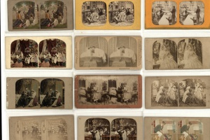 70/4587   [Stereophotographs. Marriage and courtship]. Lot of ±45 stereoph