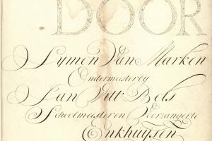 70/2657   [Calligraphy]. Marken, S. van (2nd half 18th cent.).
